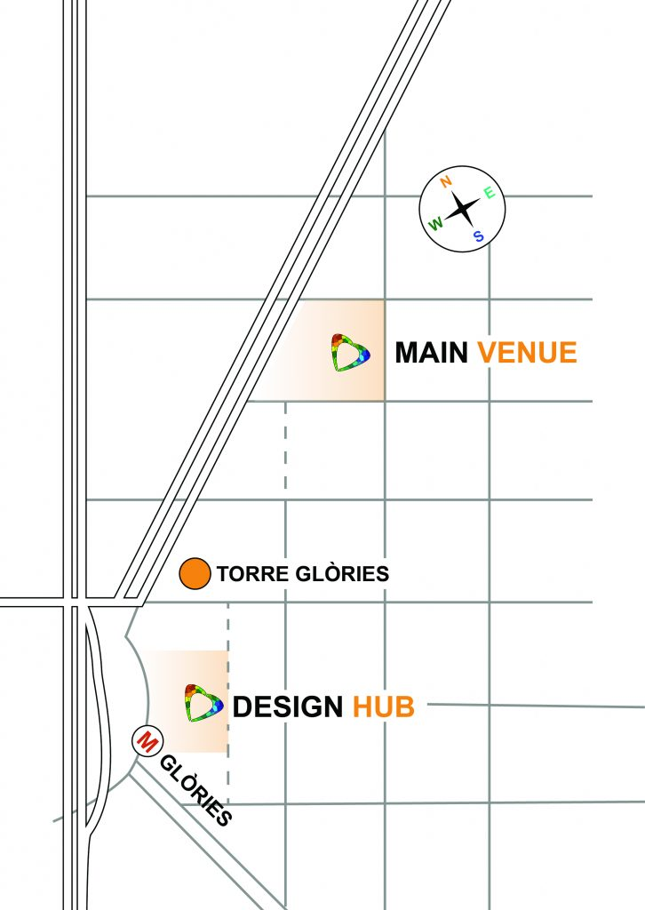 Venue area map. It shows the location of the CHIPlay Main event in reference to both the Torre Glòries, Design Hub, and Metro (M) Glòries. From the venue, proceed SW down Diagonal Avenue toward the Torre Glòries, and then make a turn (NW) to the Design Hub located right beside the Torre Glòries Metro (M).